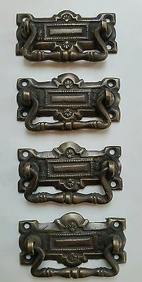 "4 unique ornate Vicorian antique brass handles pulls great patina 2 5/16"" #H35"