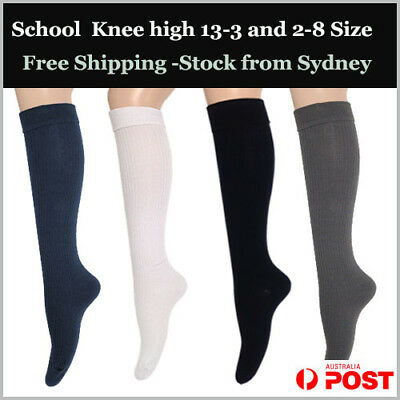 Premium Cotton Rip Knee High Socks - Plain (No seam) Women 2-8, Kid 13-3