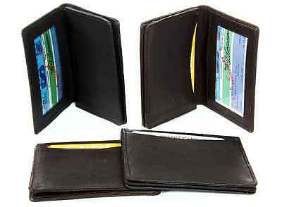 Genuine Lambskin Leather Bifold Expandable Credit ID Business Card Wallet Black