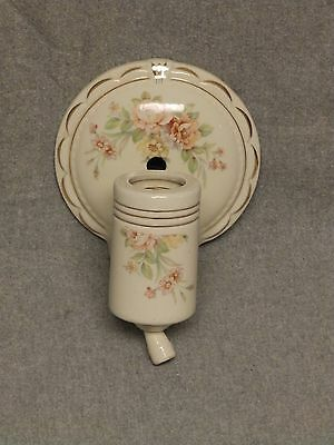 Vtg Ceramic Ivory Porcelain Sconce Pink Rose Floral Wall Light Fixture 824-16