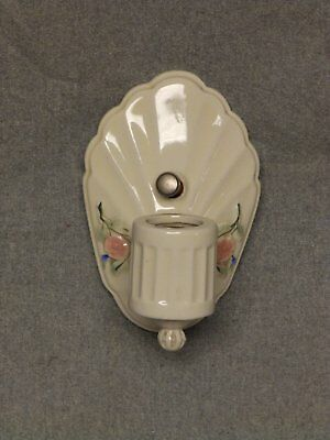 Vintage Ceramic Ivory Porcelain Sconce Pink Floral Wall Light Fixture 826-16