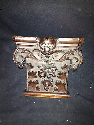 "Early 8 1/4"" Carved Wood Pediment W/ Cat Face"