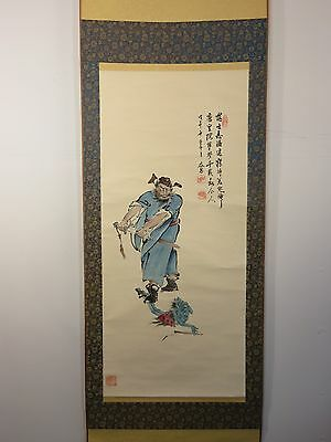 Vintage ZHONG KUI CHINESE MYTHOLOGY SCROLL PAINTING King Of Ghosts ASIAN ART