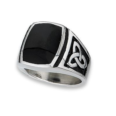 Stainless Steel Mens Synthetic Onyx Celtic Fashion Ring w Triad Size 8-13