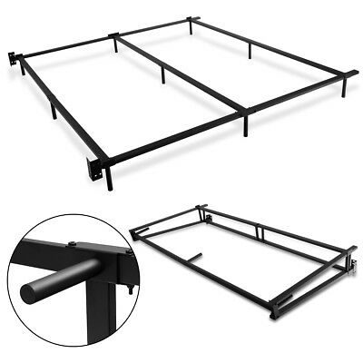 BLACK FOLDING HEAVY Duty Metal Bed Frame Center Support Bedroom King ...