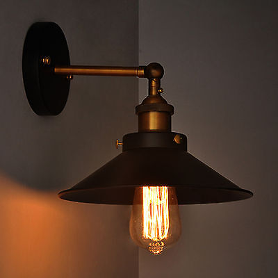 Vintage Metal Industrial Wall Light Rustic Sconce Lamp Cafe Lounge Edison Blub