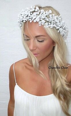 Gypsophila White Spray Flower Crown Garland Hair Head Band Choochie Bride Bridal