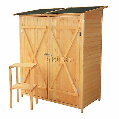 FoxHunter Garden Tool Shed Wood Tool Storage Chest Pent Roof Double Door Natural