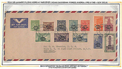 AG271 1954 INDIAN MILITARY Forces in KOREA Complete Set Airmail Cover Delhi