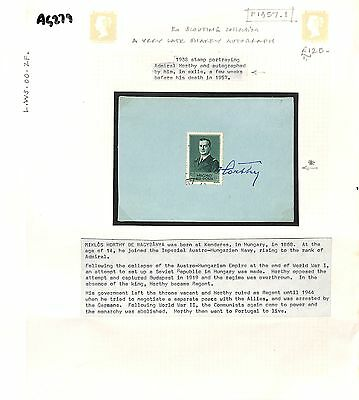 AG279 1957 HUNGARY Horty Stamp Signed Horty