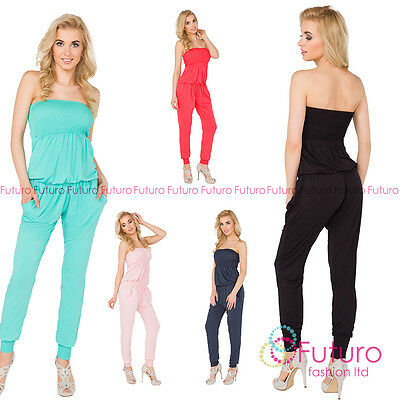 Womens Jumpsuit With Pockets Bandeau Party Playsuit Catsuit Sizes 8-14 1084