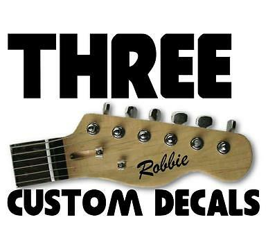 3 x STICKERS personalise custom name electric acoustic guitar headstock decal