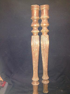 "1940's Pr 26 3/8"" Carved Wood Pediment Spindle"