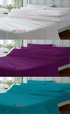 """100% Cotton Fitted Percale Single Double King Super King Sheets Size 10"""" 26Cm"""