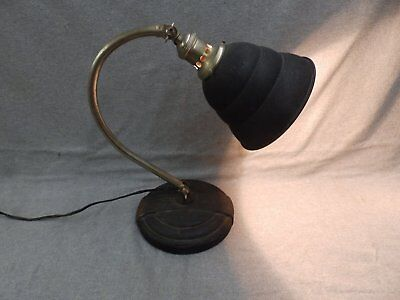 Vtg Industrial Machine Age Desk Lamp Brass Cast Iron Old Steampunk Light 827-16