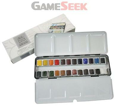 Winsor and Newton Artists Water Colour Half Pans Light Weight Metal Box Pack of