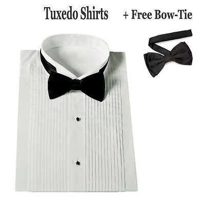 New Men's White Tuxedo Dress Shirt with Bow Tie Set Stander Cuff SG11
