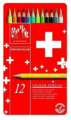 Caran Dache Swisscolor Water Soluble Artist Sketch Colour Pencil Metal Set Of 12