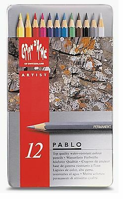 Caran Dache Pablo Colour Pencils Water Resistant Sketching Metal Tin Set Of 12