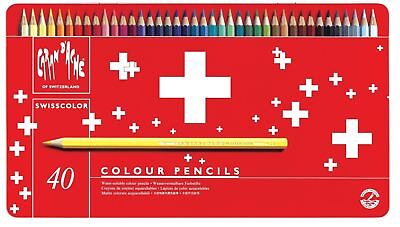 Caran Dache Swisscolor Water Soluble Artist Sketch Colour Pencil Metal Set Of 40