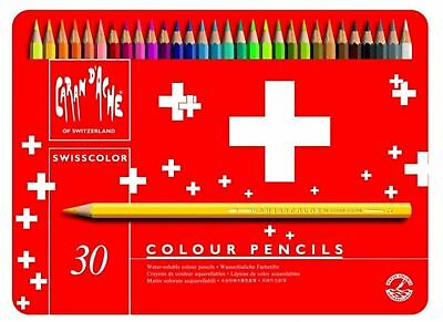 Caran Dache Swisscolor Water Soluble Artist Sketch Colour Pencil Metal Set Of 30