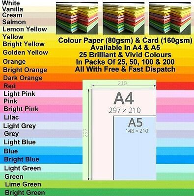 A4 A5 Coloured Paper Card Printer Copier Cardmaking Ream Colour Sheet 80 /160gsm