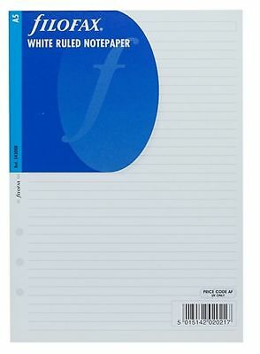 Filofax A5 White Ruled Note Paper Replacement Insert Refill Accessory 343008