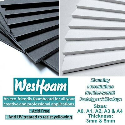 Foam Board Foamboard White OR Black 3mm OR 5mm Mounting Sheet Sign Display