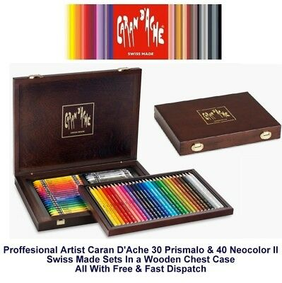 Caran Dache Prismalo 30 & Neocolor II 40 Wooden Box Artist Pencil Wax Crayon Set