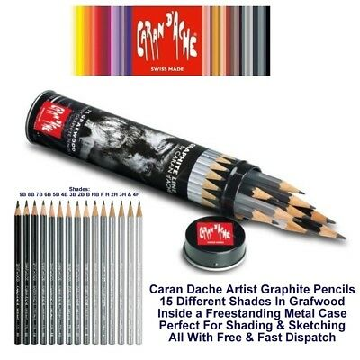 Caran Dache Graphite Line Artist Pencils Grafwood Pencils 15 Shades Metal Case