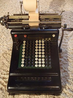 antique Burrougs adding machine 9 column manual w/print carriage c.1900