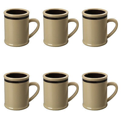 6 Carlisle 8oz Rustic Tan Resin Plastic Coffee Mug Wholesale Bulk Lot Restaurant