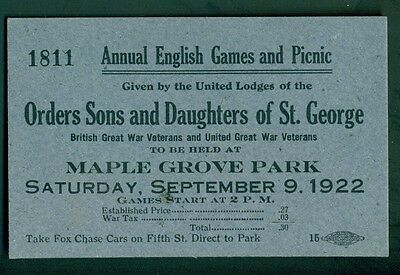 1922 Orders Sons and Daughters of St. George English Games & Picnic Ticket