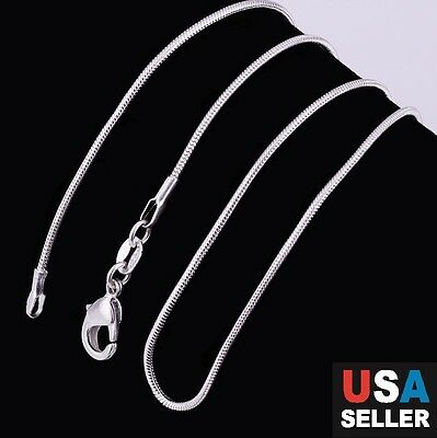 """New Stunning 925 Sterling Silver Plated Snake Chain Necklace 1mm 18"""" 20"""" 22"""" 24"""""""