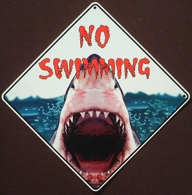 NO SWIMMING CROSSING SIGN aluminum decor painting fish sharks home novelty signs