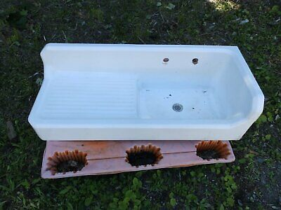 Antique Cast Iron White Porcelain Right Corner Kitchen Sink Old Plumbing 846-16