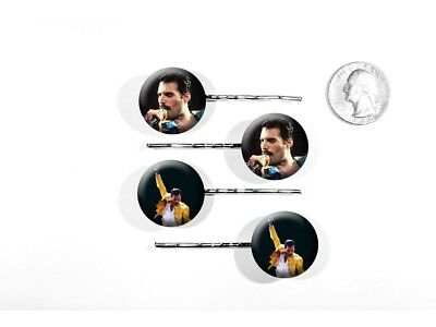 Freddie Mercury Queen Lead Singer Classic Rock Set of 4 Bobby Pins
