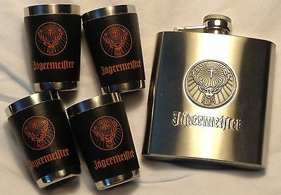 Jagermeister Stainless Steel Flask and 4 Stainless Steel Shots w/ Covering...NEW