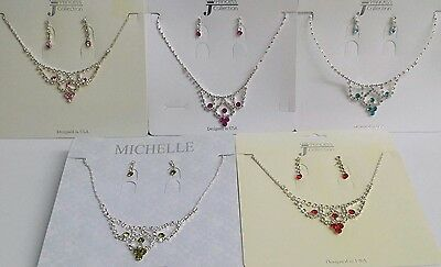 NEW Kids Girls #1110 Rhinestone Arch Necklace Earring Fashion Party Jewelry Set