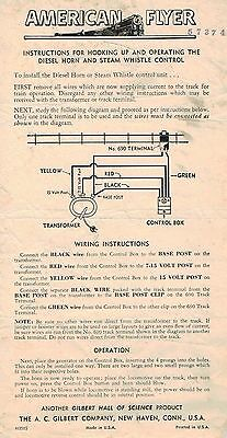 American Flyer DIESEL HORN / STEAM WHISTLE Control Instruction Sheet