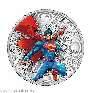 AUTHENTIC Canada 2014 $20 99.99% Pure Silver Coin Superman Comic Book Cover #1
