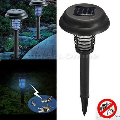 Waterproof LED Solar Electric Mosquito Killer lamp Fly Bug Zapper Insect Trap