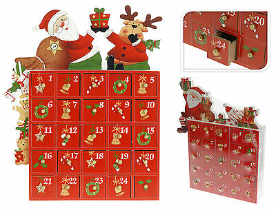 Large Wooden Advent Calendar Countdown to Christmas Santa Advent Calendar