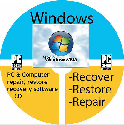 Windows Vista Boot Computer Laptop Repair Restore Recovery Reinstall Error Disc