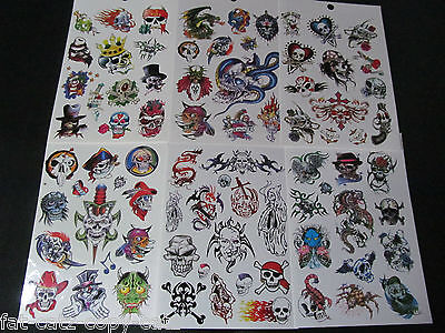 5 or 10 SHEETS BOYS SCARY BIKER SKULL GOTH TEMPORARY TATTOOS PARTY LOOT BAG UK