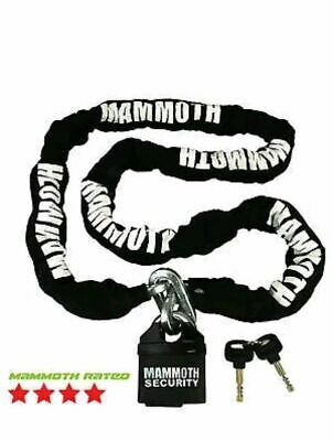 Mammoth Lock & Chain 1.8m x 10mm Motorcycle Scooter Security Theft Deterrent