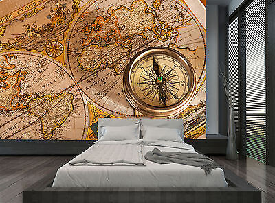 Vintage Compass Brown Retro Old Map Wall Mural Photo Wallpaper GIANT WALL DECOD
