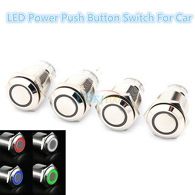 12V Car LED Power Button Switch Push ON/OFF Waterproof 16mm Latching Type
