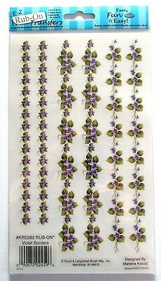 Violet Borders E-Z Rub-On Transfers Sheet (Decals) ~ New
