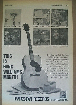 This Is Hank Williams Month! April 1961 Ad- MGM Records